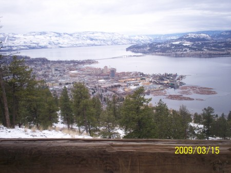 Great view of Kelowna city and William R. Bennett Bridge from Mount Knox.