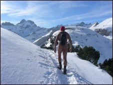 Hiking Naked in the Swiss Alps - brrrr.
