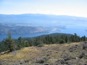 Blue Grouse Mountain and view of Kelowna with William R. Bennett Bridge