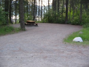 Spacious treed campsites at Texas Creek Provincial Park