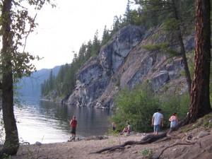 One of the Texas Creek Provincial Park beaches near the Cliffs.