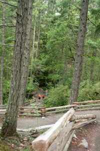 Well groomed trails along the loop trail around Lower Thetis Lake.