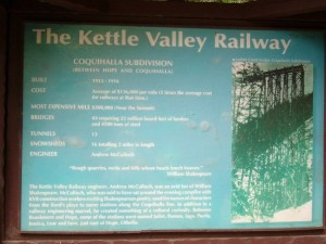 Some history of the Kettle Valley Railway that ran through here during the early part of the 20th century