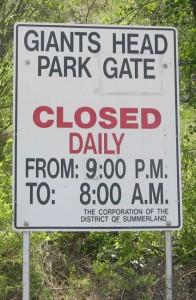Giants Head Park open 8AM closed 9POM