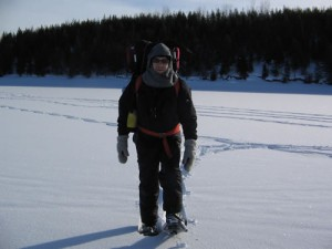 Dressed in wool to cross the frozen canadian lake. It was minus 10 degrees celcius.